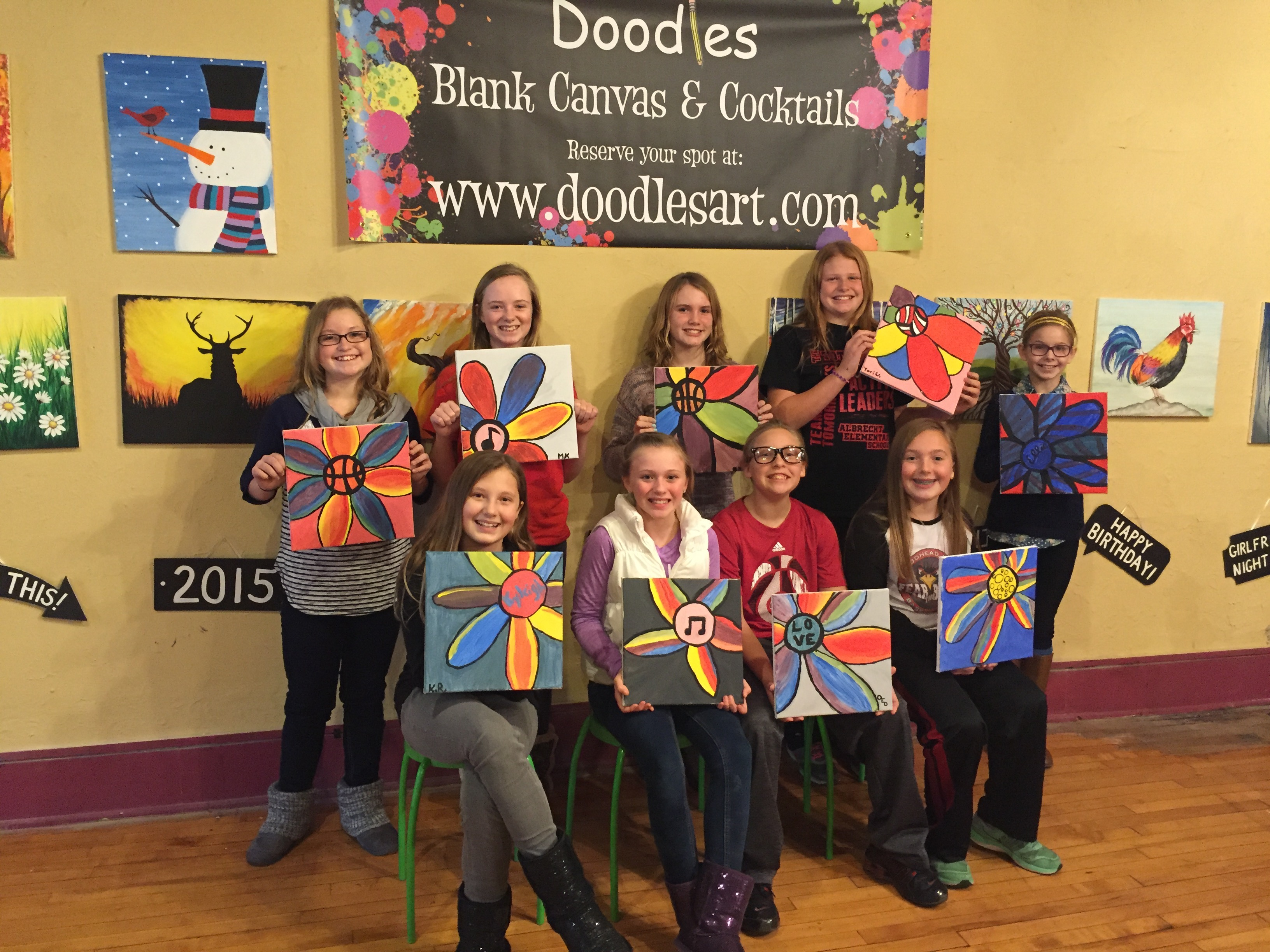 Emaleigh and friends Flower Power Painting Birthday! 11/28/15