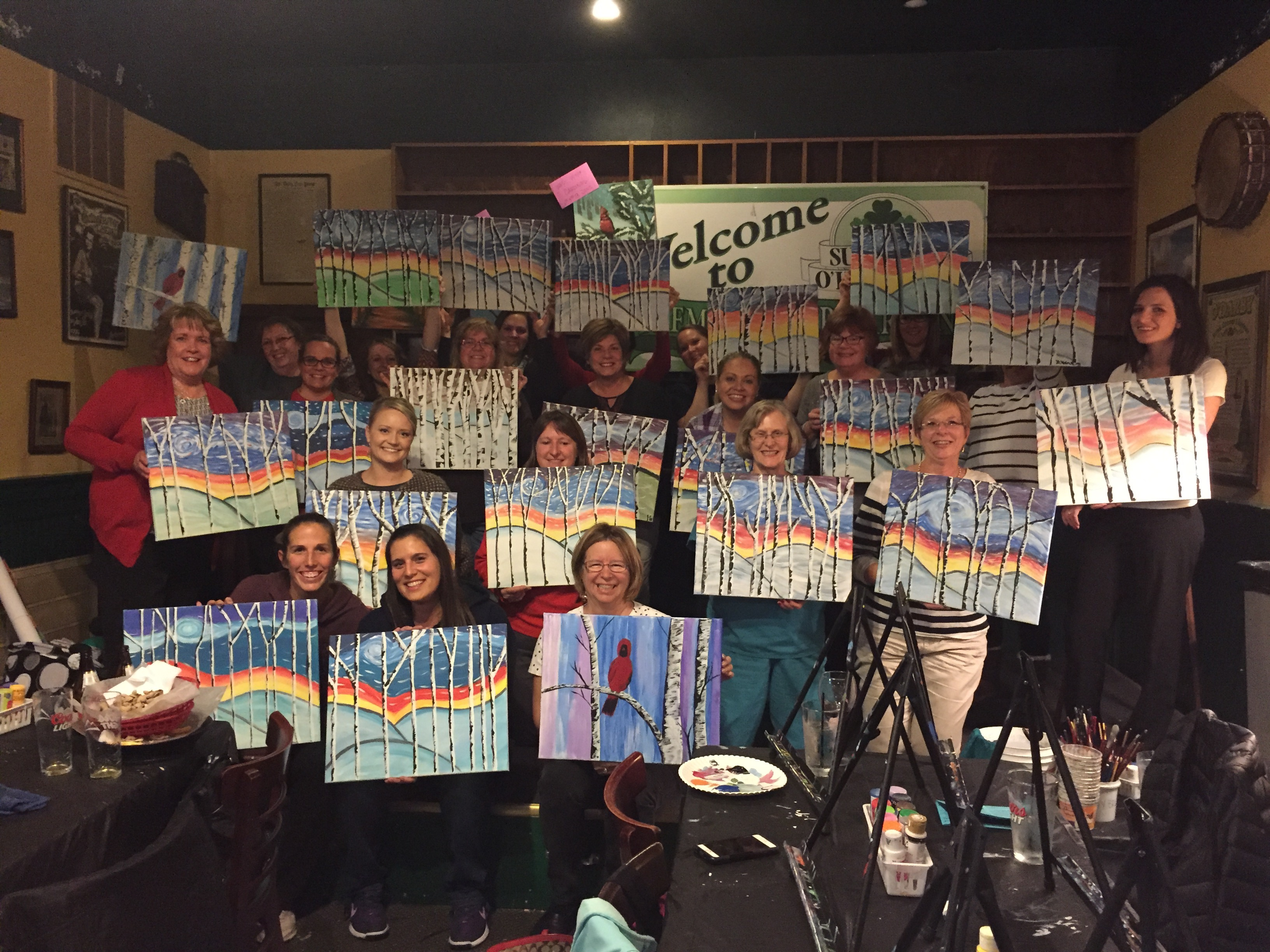 Turner School District got really creative painting Birch Trees at Suds! 11/19/15