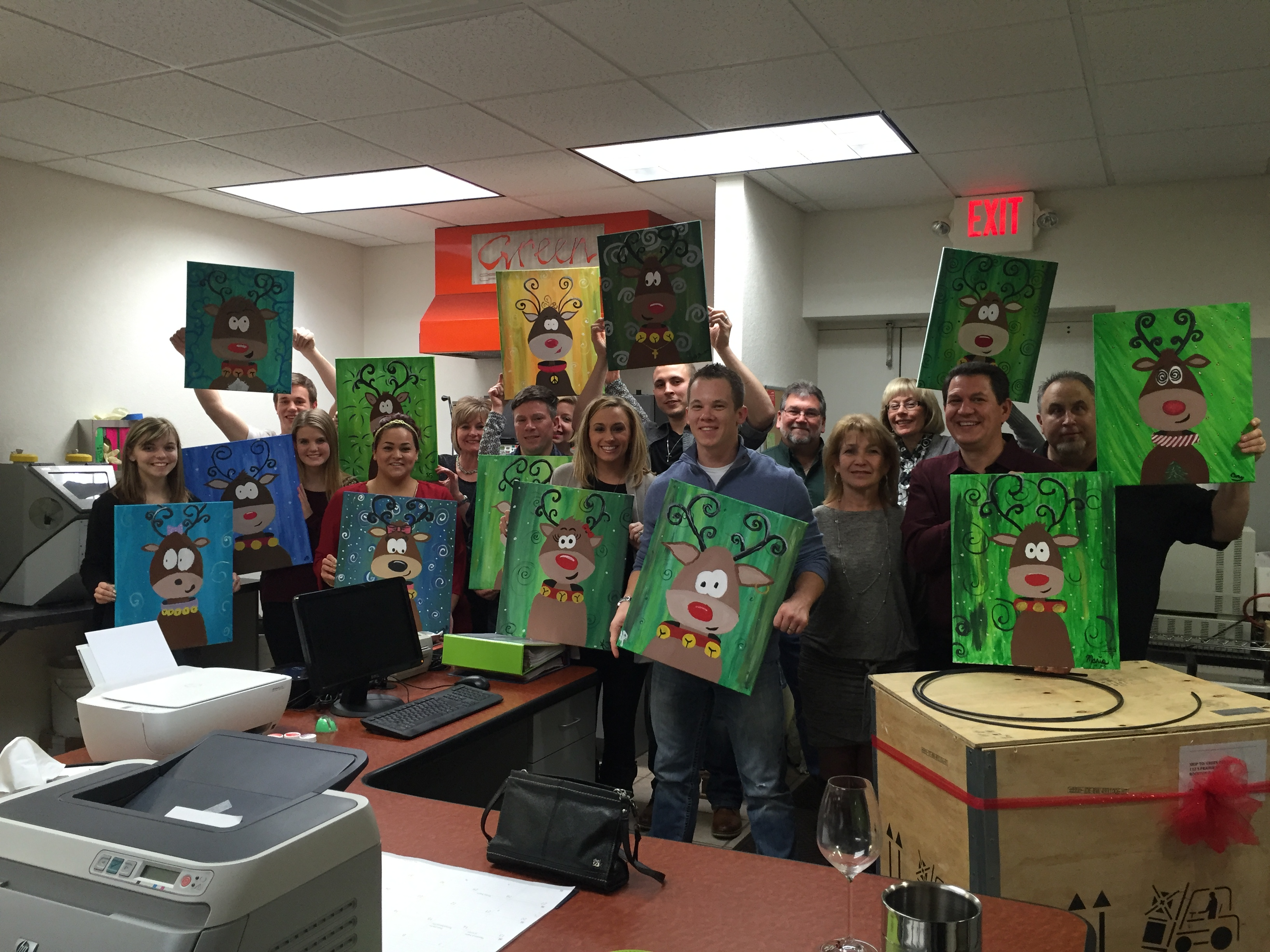 Private Office Party for Green Dental Lab. They got into the Festive Spirit by painting Reindeers! 12/19/15