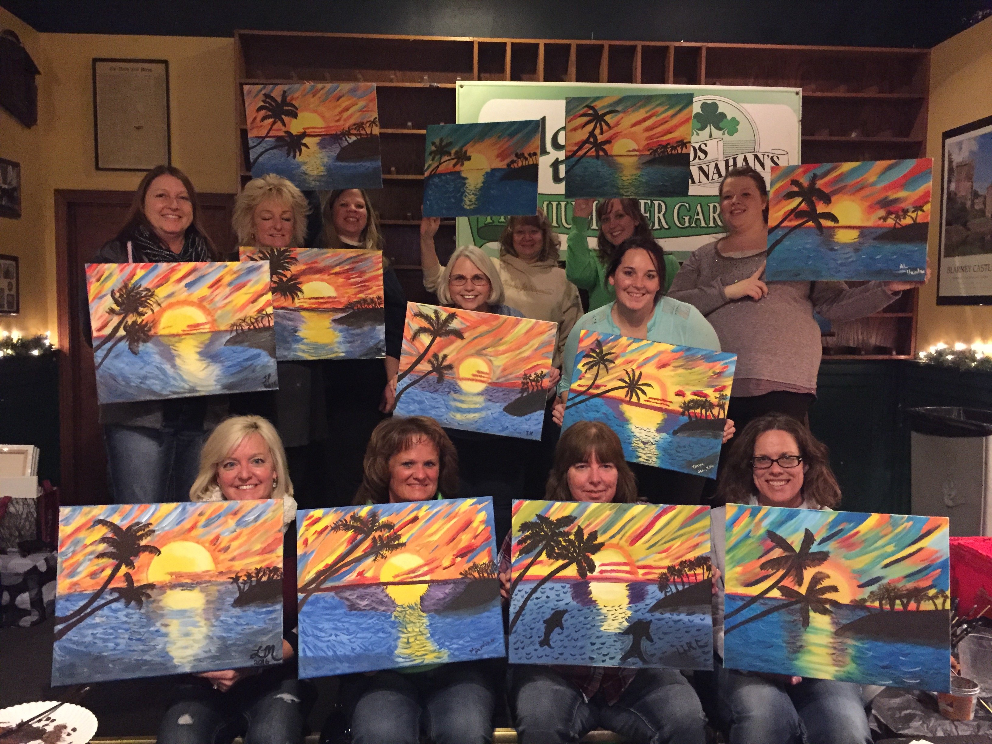 Beloit Memorial Hospital staff enjoyed a team building paint class at Suds! Imagining warm beaches in this Seascape! 1/20/16