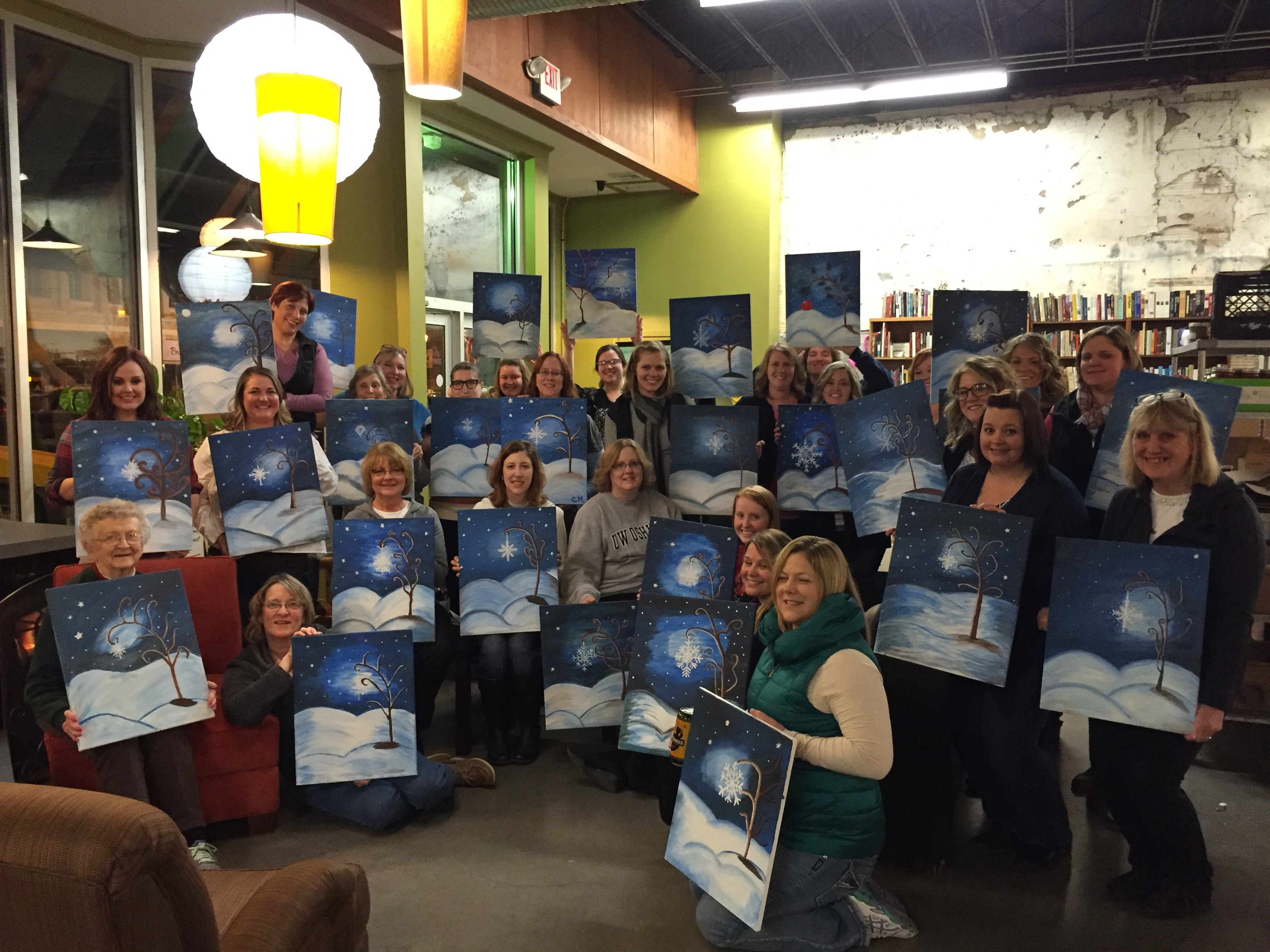 First class at Bushel & Peck's was FANTASTIC! Everyone enjoyed drinks, food and painting Snowflake Trees! 12/18/15