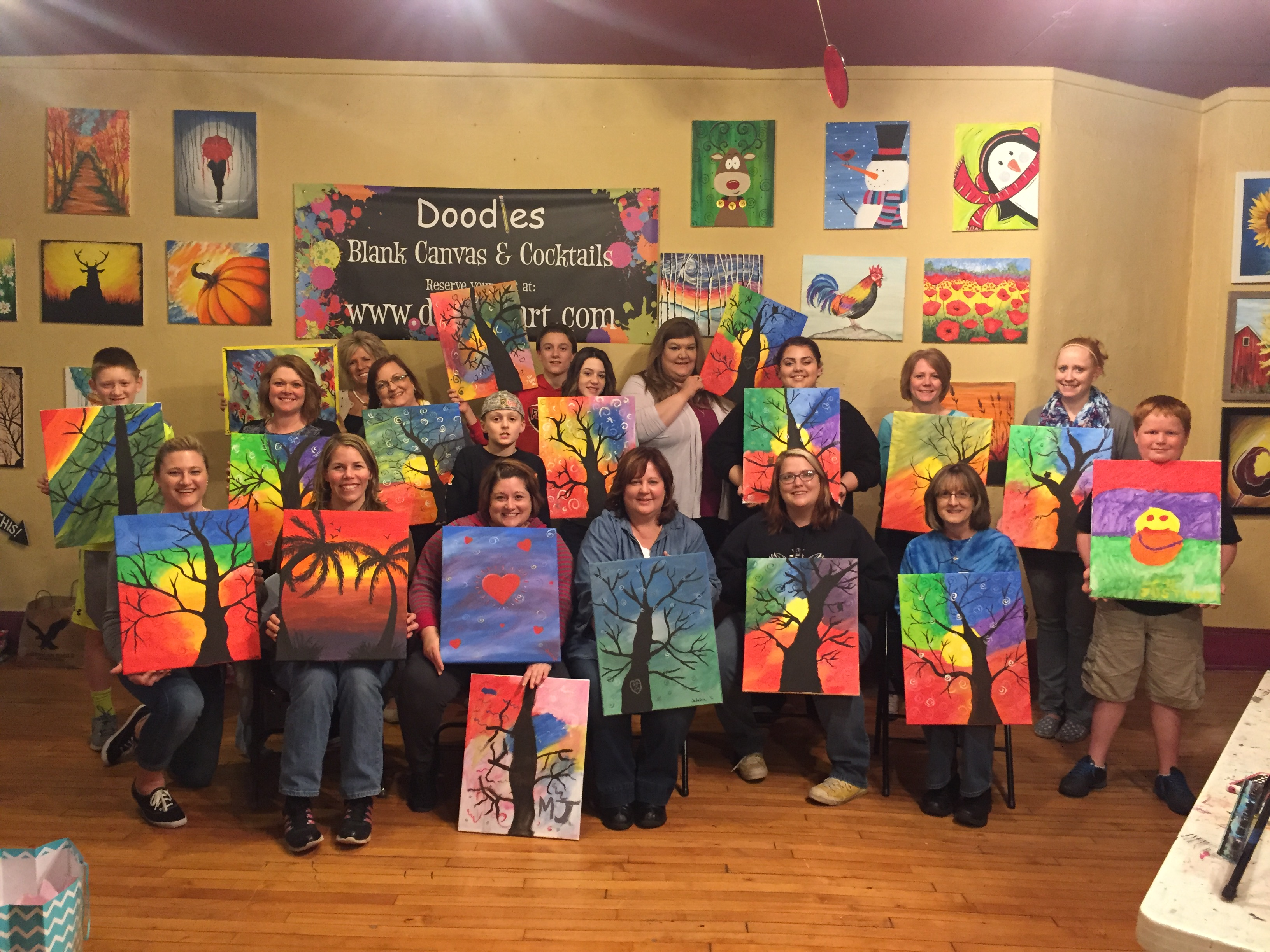 This group of Bunco playing friends rolled the dice painting these Swirling Trees! 3/11/6