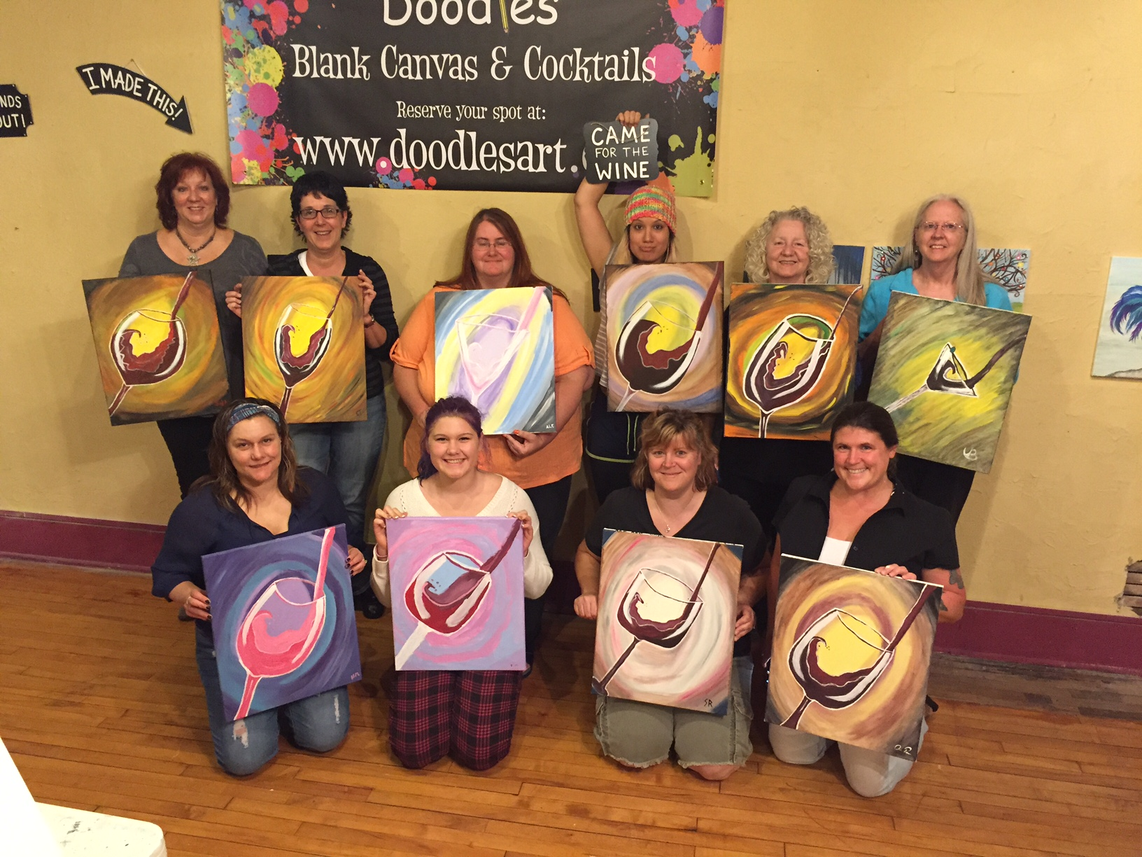 """Uncorking their inner artists!"" by painting Wine Glasses, Champagne Flutes and Martinis! 10/9/15"
