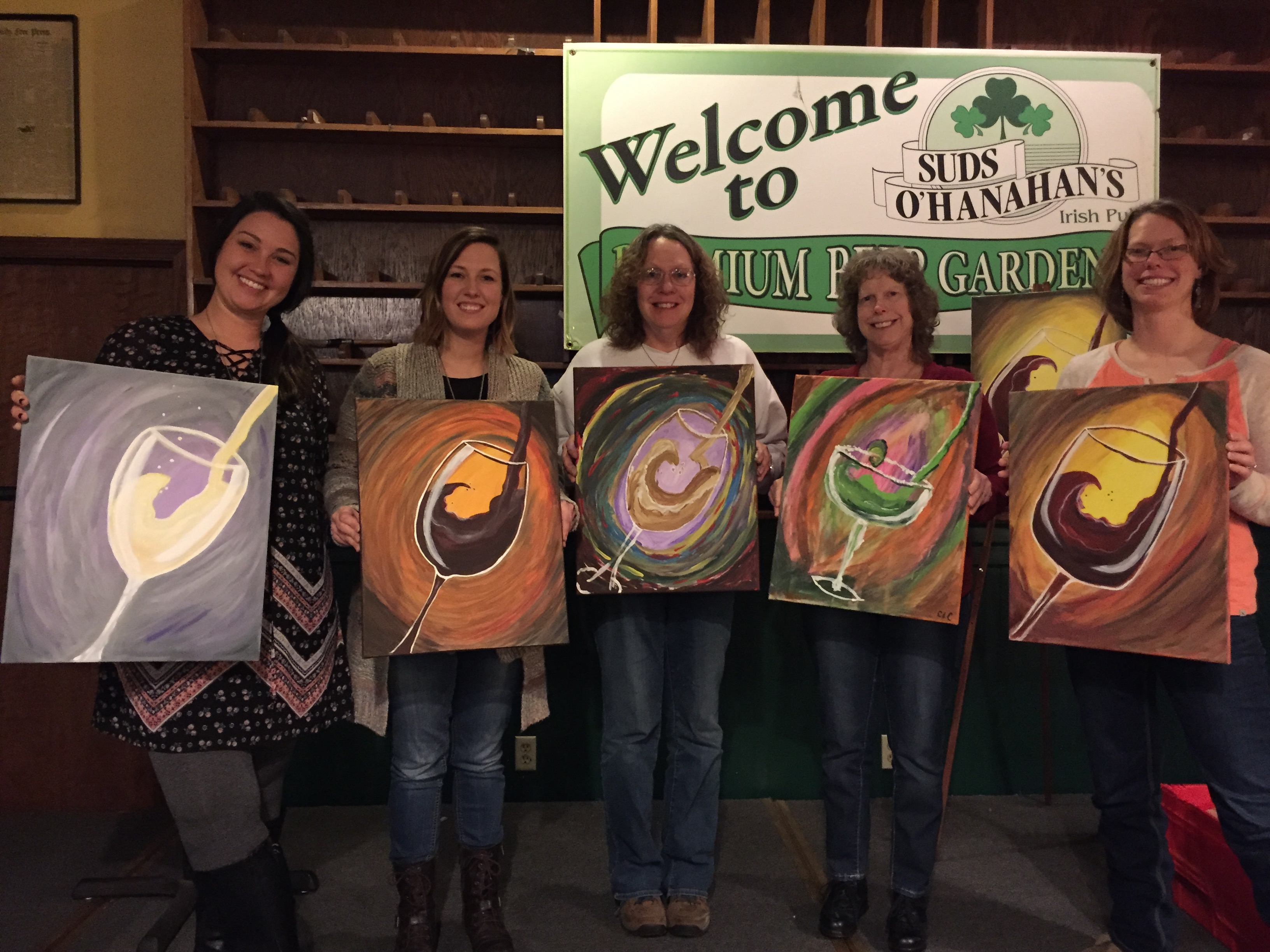 Ladies uncorking their creativity with Wine, Champagne and Margarita paintings at Suds! 1/27/16