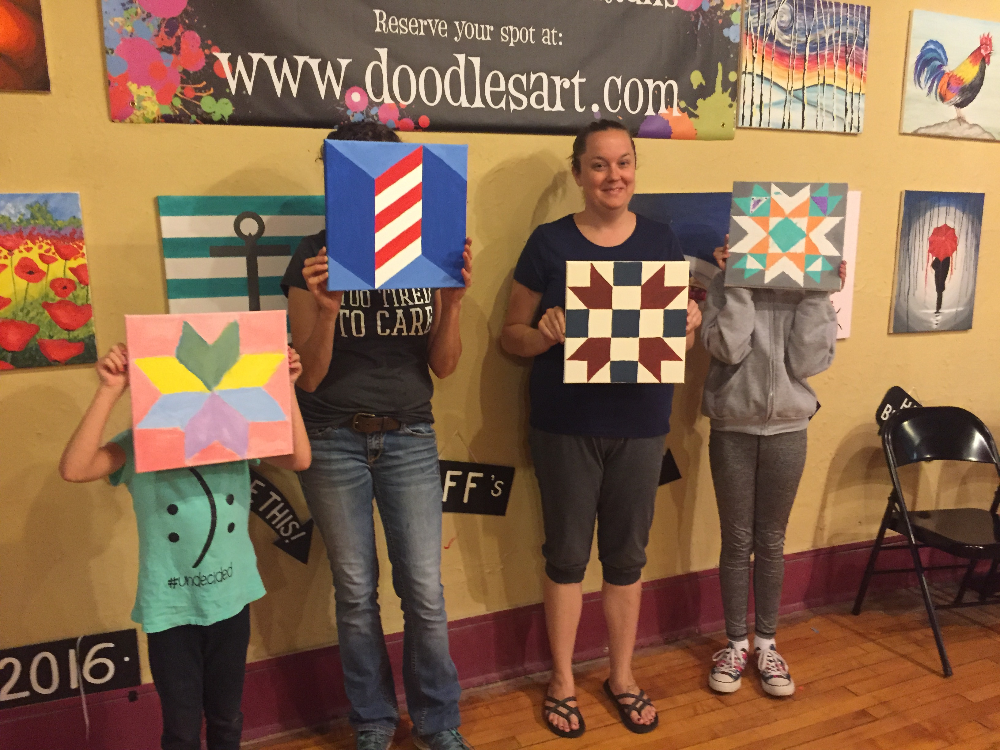 Barn Quilts for the tree house and for bedroom doors! 9/22/16