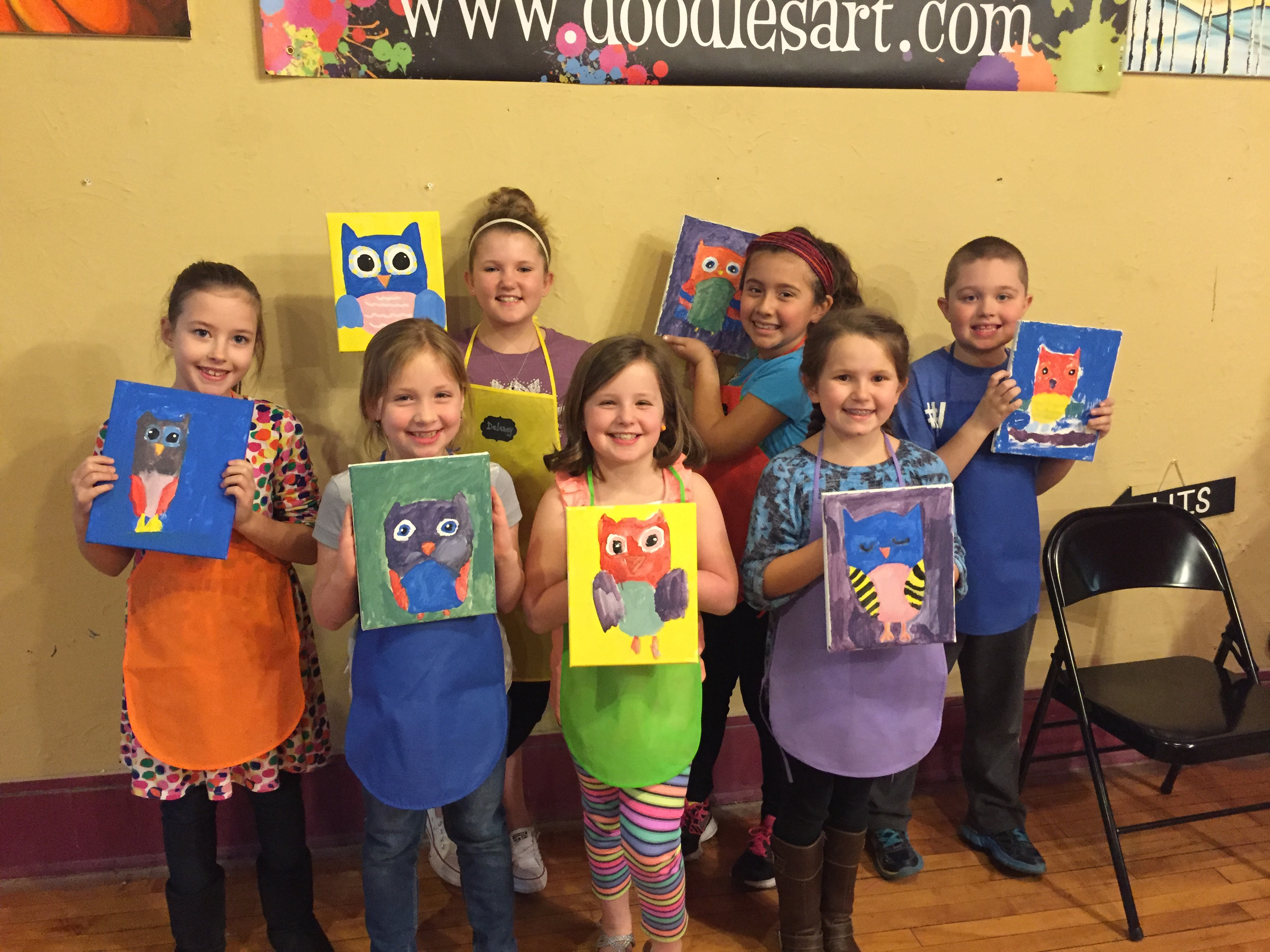Emma's party guests had a HOOT painting Owls on 3/12/16!