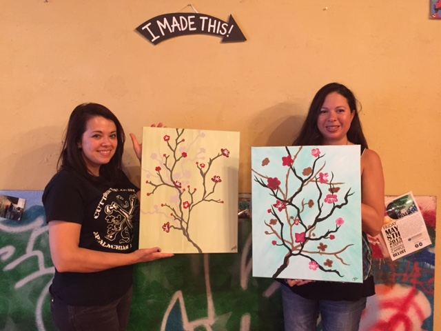 Cherry Blossoms painted spending Sister Time together! 8/22/15