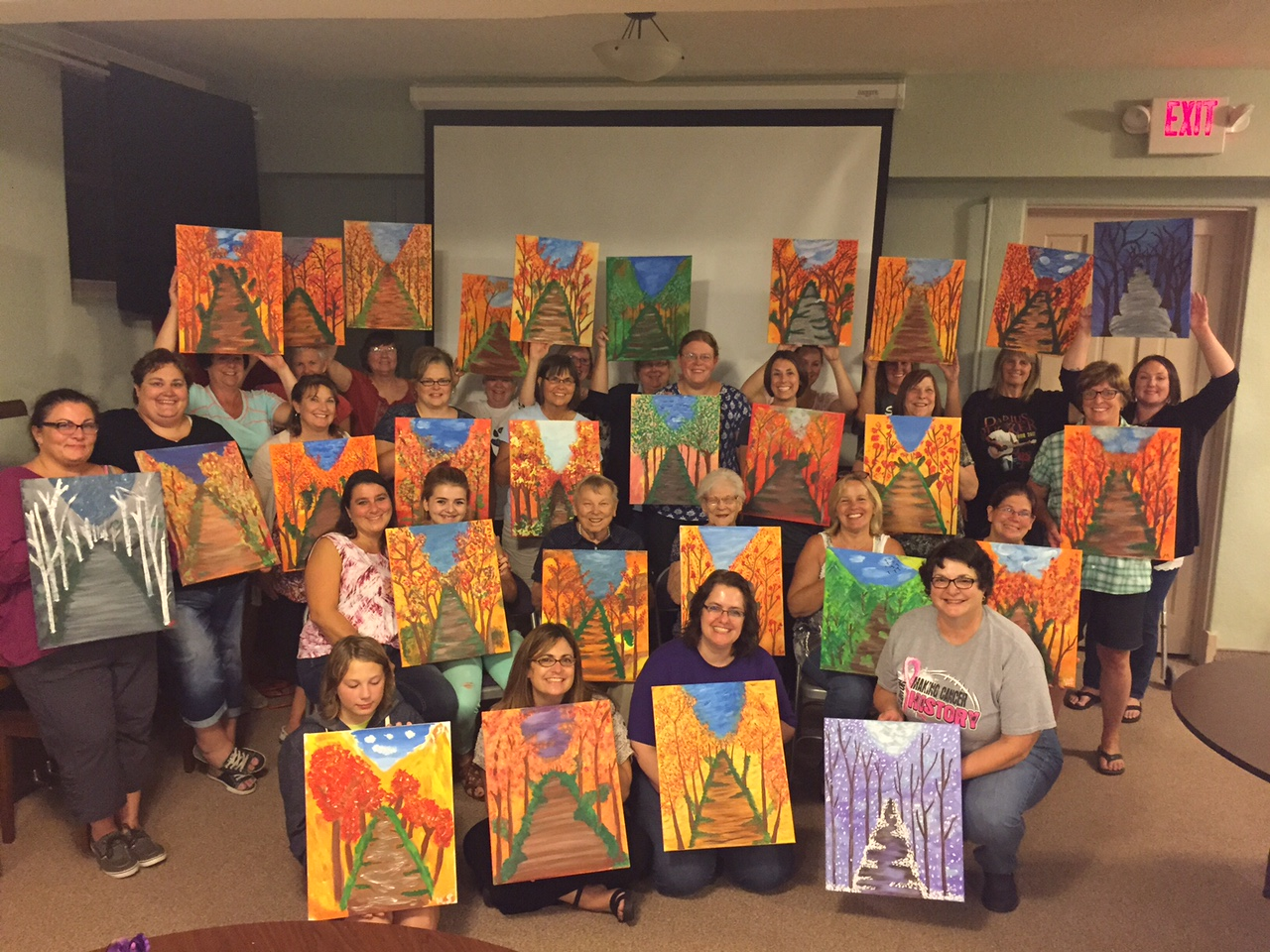 The ladies at First Presbyterian Church in Clinton painted lovely Fall Paths (or any season of choice!) 9/16/15