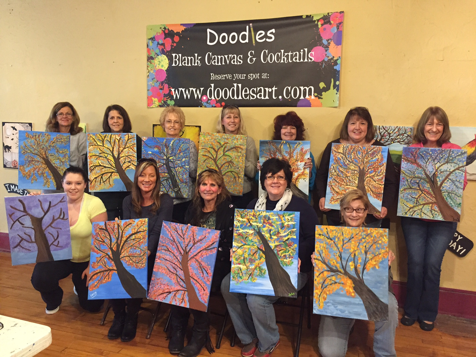 Private Party for Karla's group of wonderful friends painting Fall Trees! 11/1/15