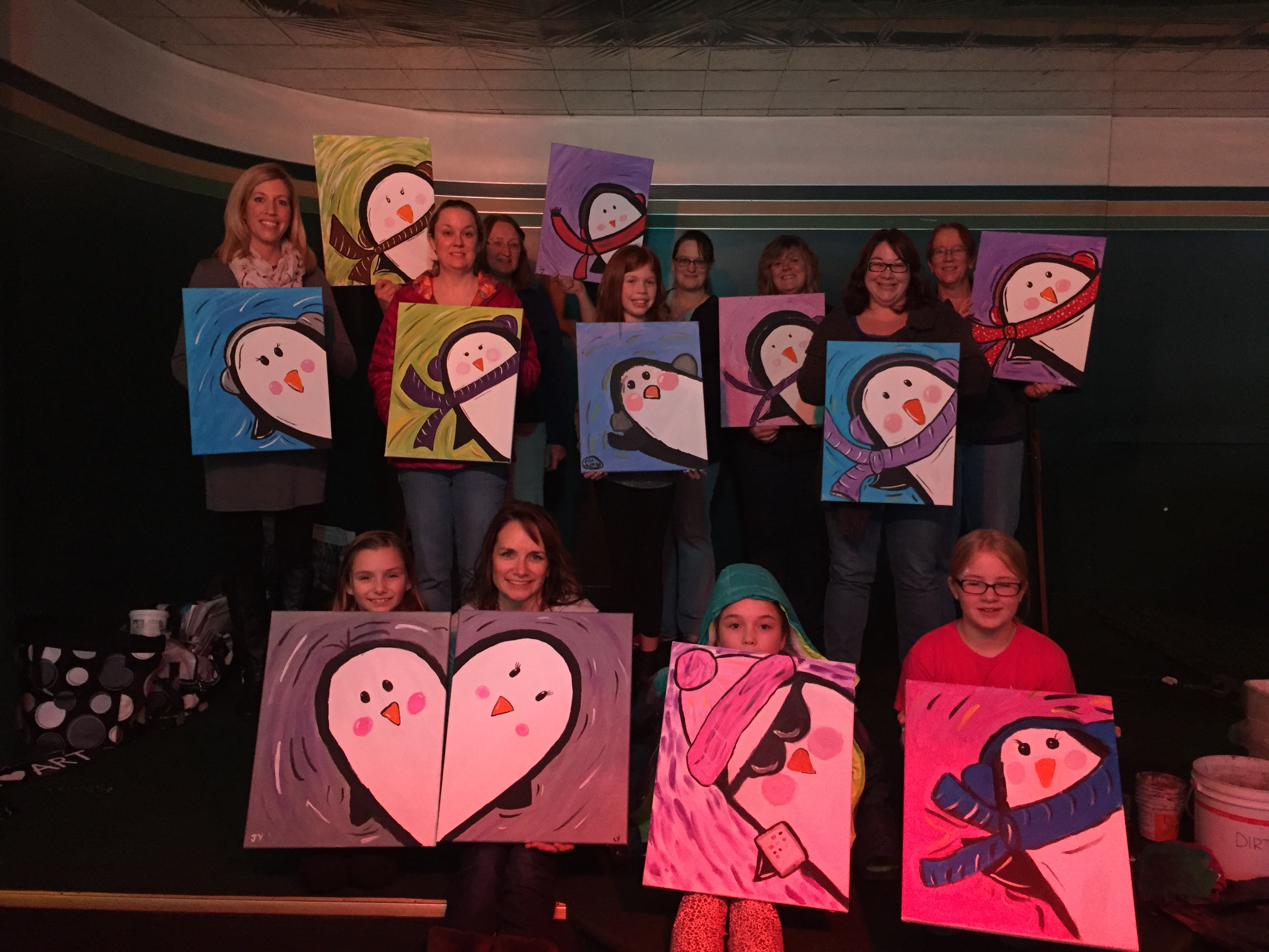 The first class at the Butterfly Club painted Chilly Willy Penguins! 1/24/16