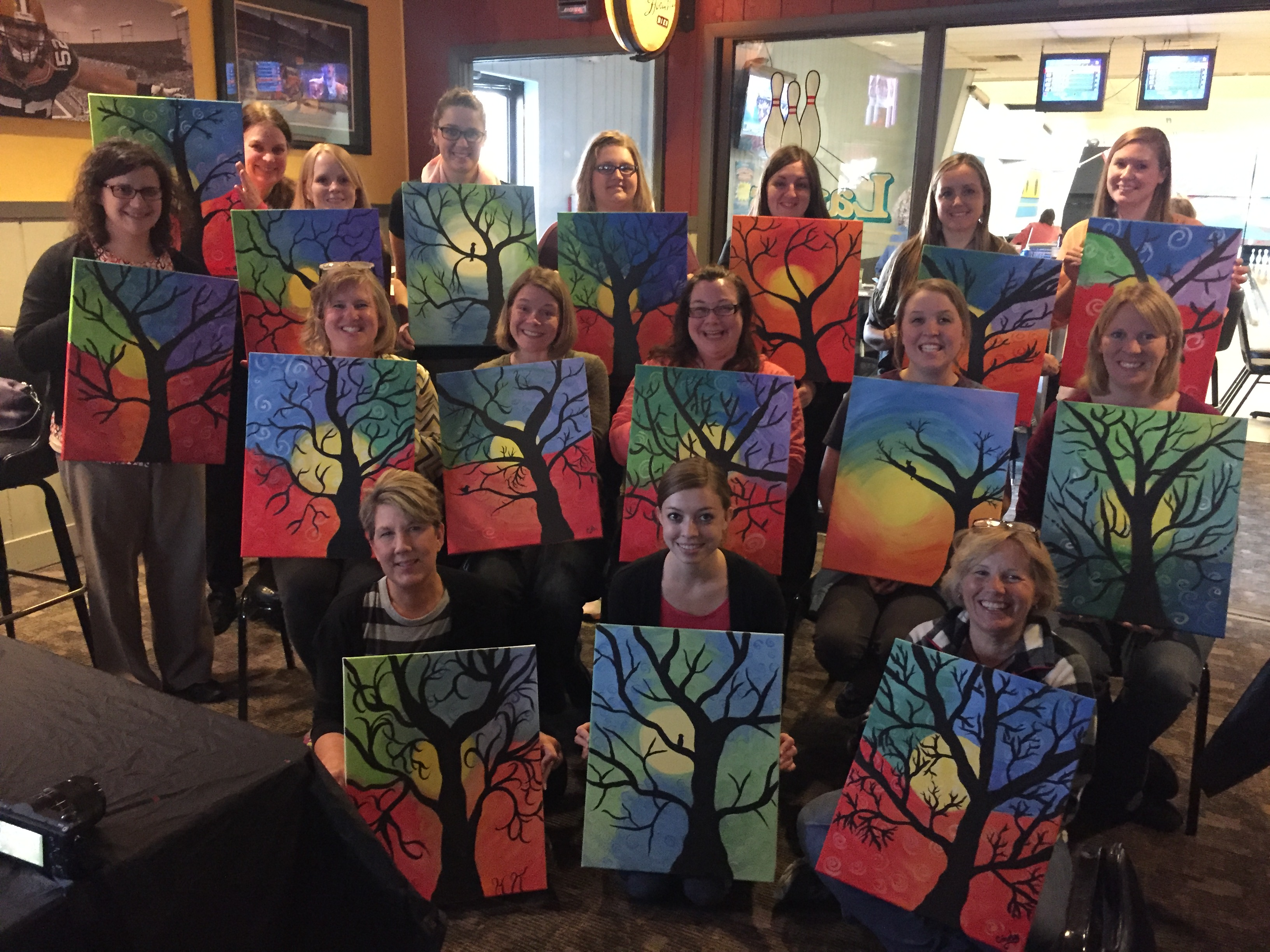 Clinton Elementary teachers enjoyed an evening out together at Cougar Lanes painting Swirly Trees! 4/14/16