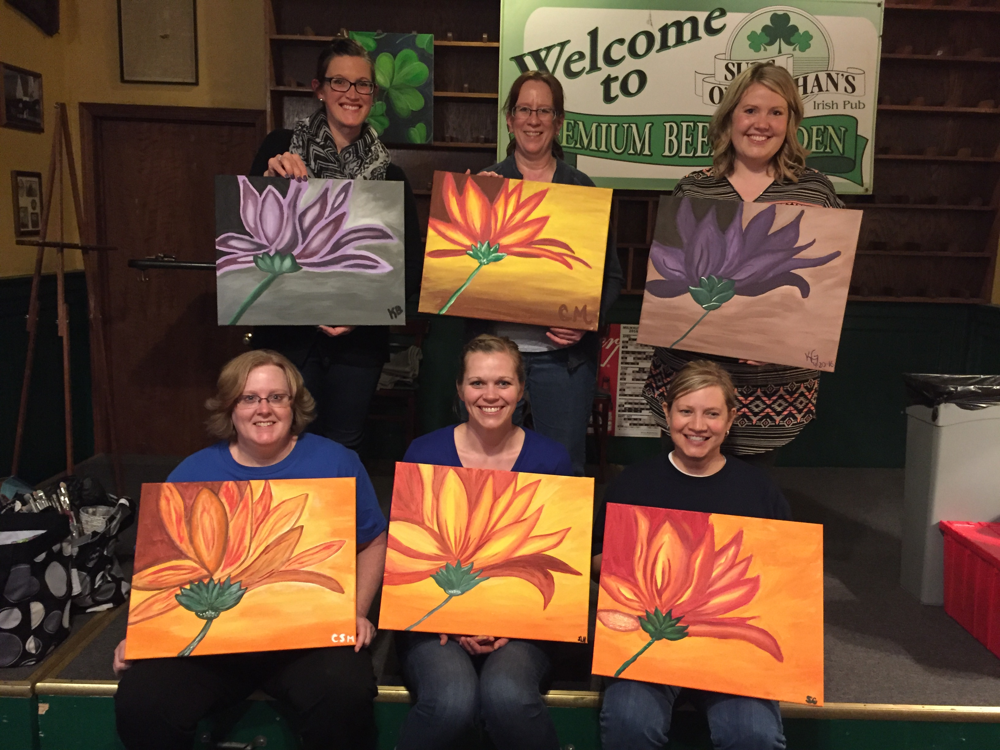 Flower painting at Suds on 4/20/16!