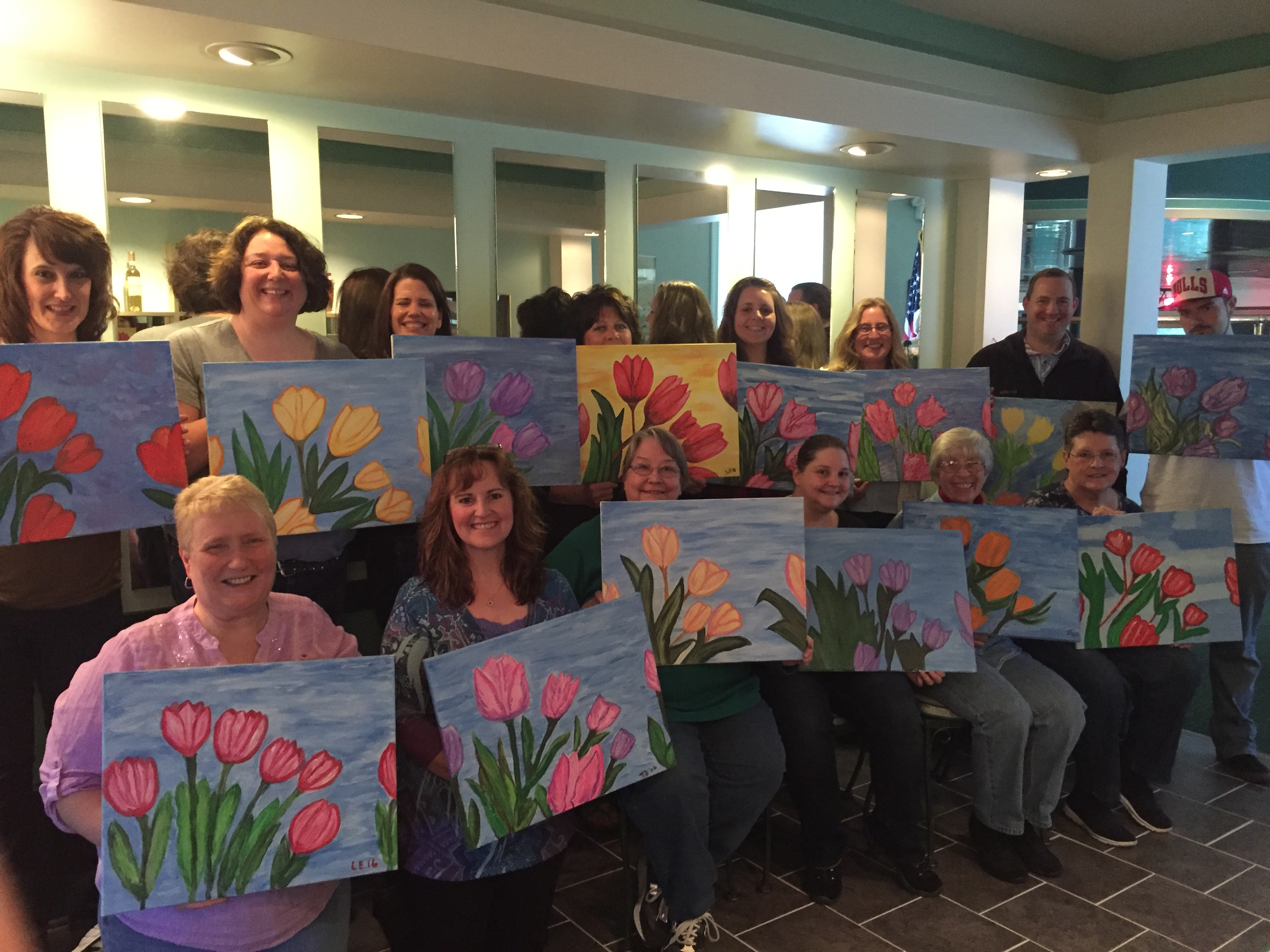 Celebrating Mothers Day and May Day painting Tulips at The Butterfly Club 5/1/16!