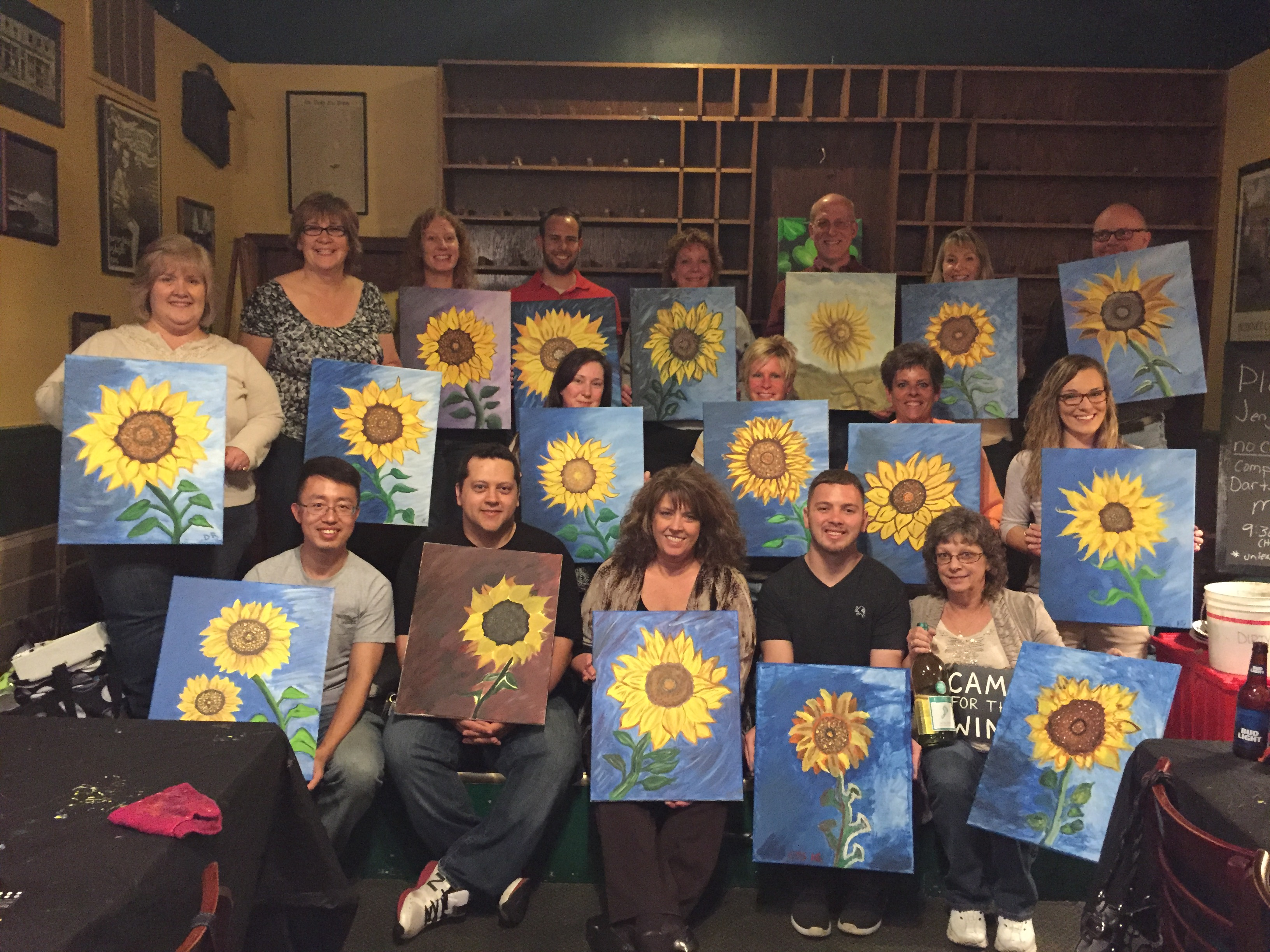 Taylor Company did some team building at Suds by painting Sunflowers together! 5/11/16