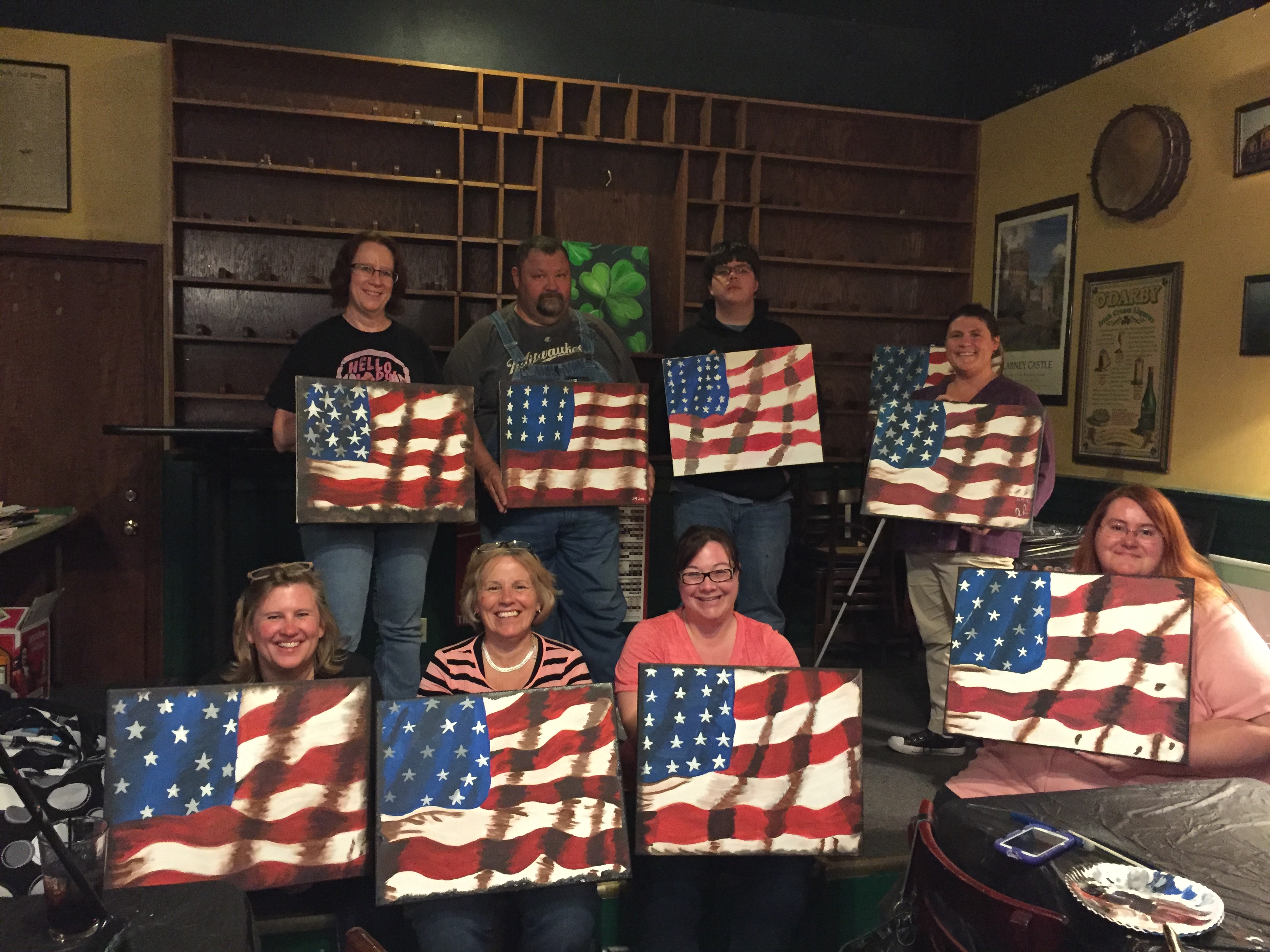 Old Glory paintings for Memorial Day at Suds 5/18/16