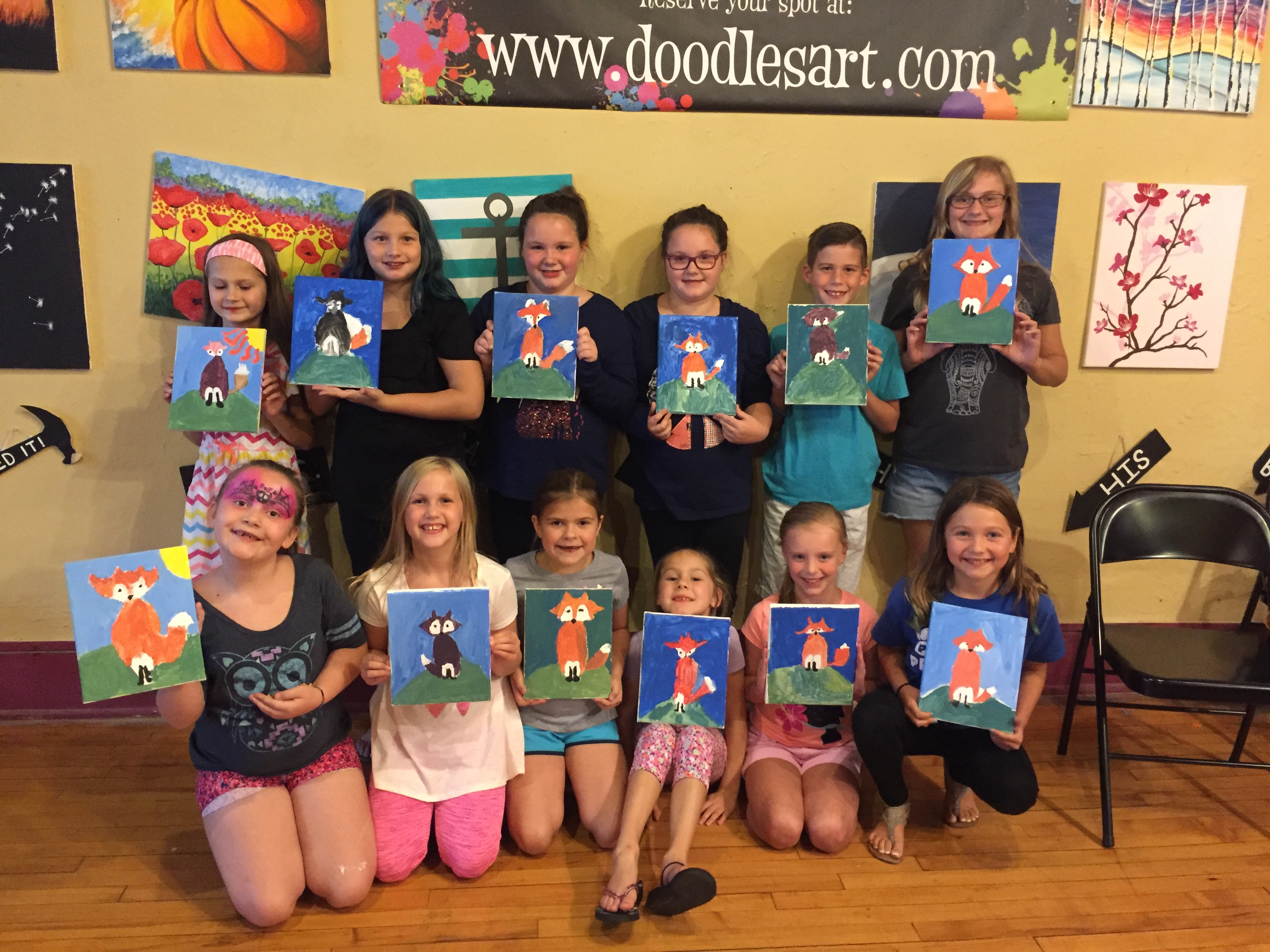 Caitlin & Cesley celebrated their birthday by painting a Fox! 9/10/16