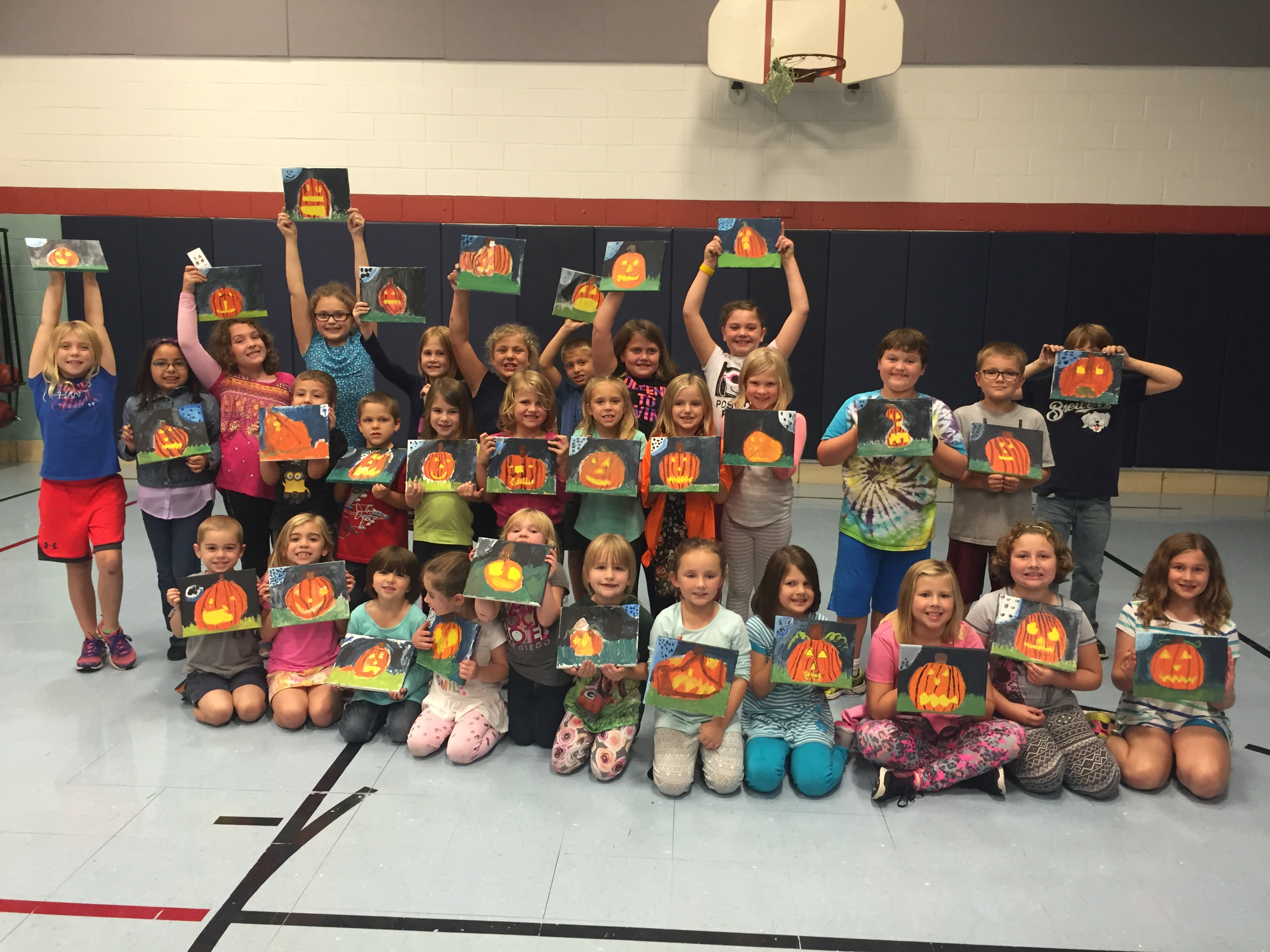 Students painted Jack-O-Lanterns for the Clinton Elementary Fundraiser on 10/6/16.