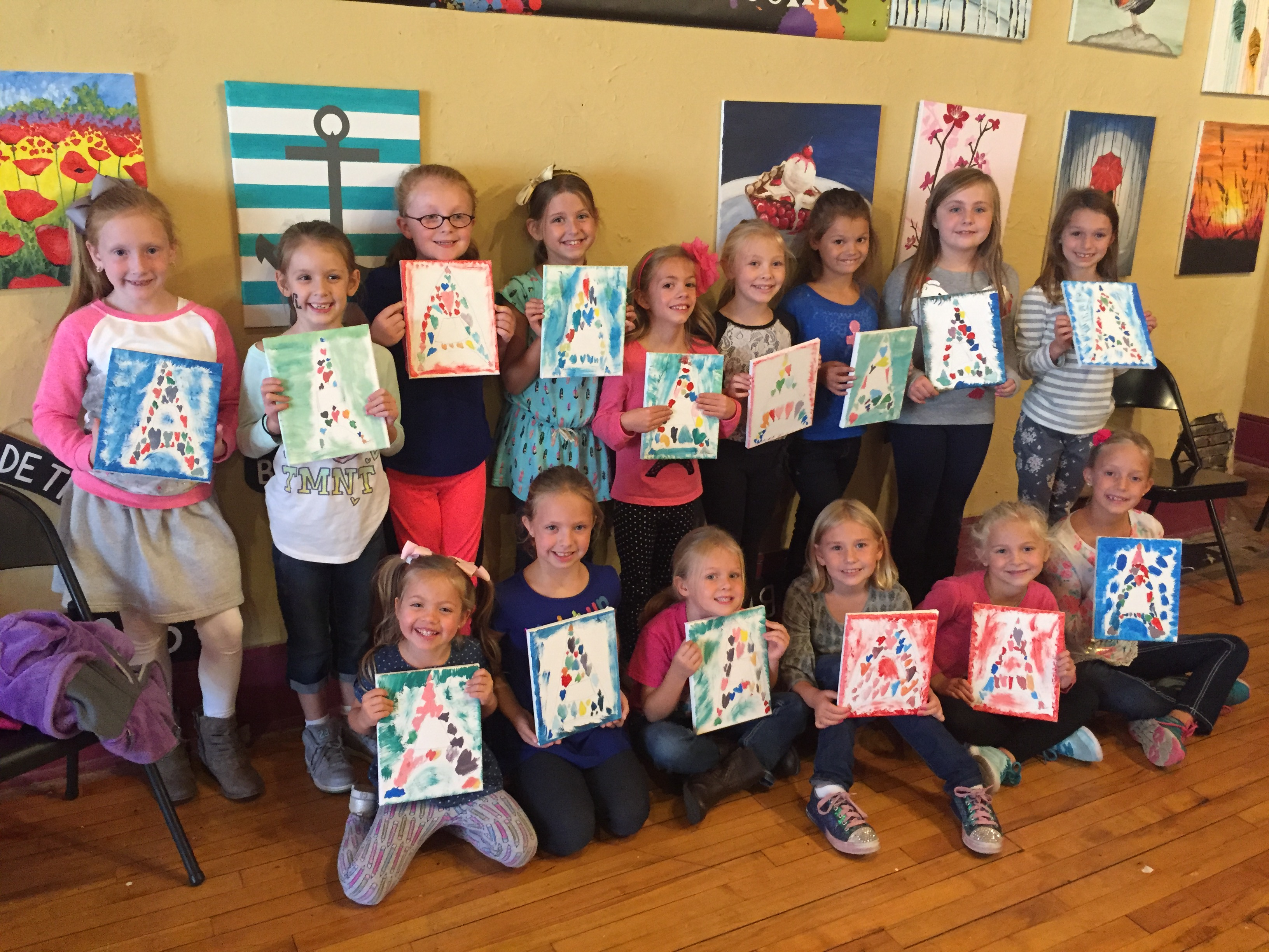 Evelyn painted Eiffel towers with her birthday party guests on 10/8/16.