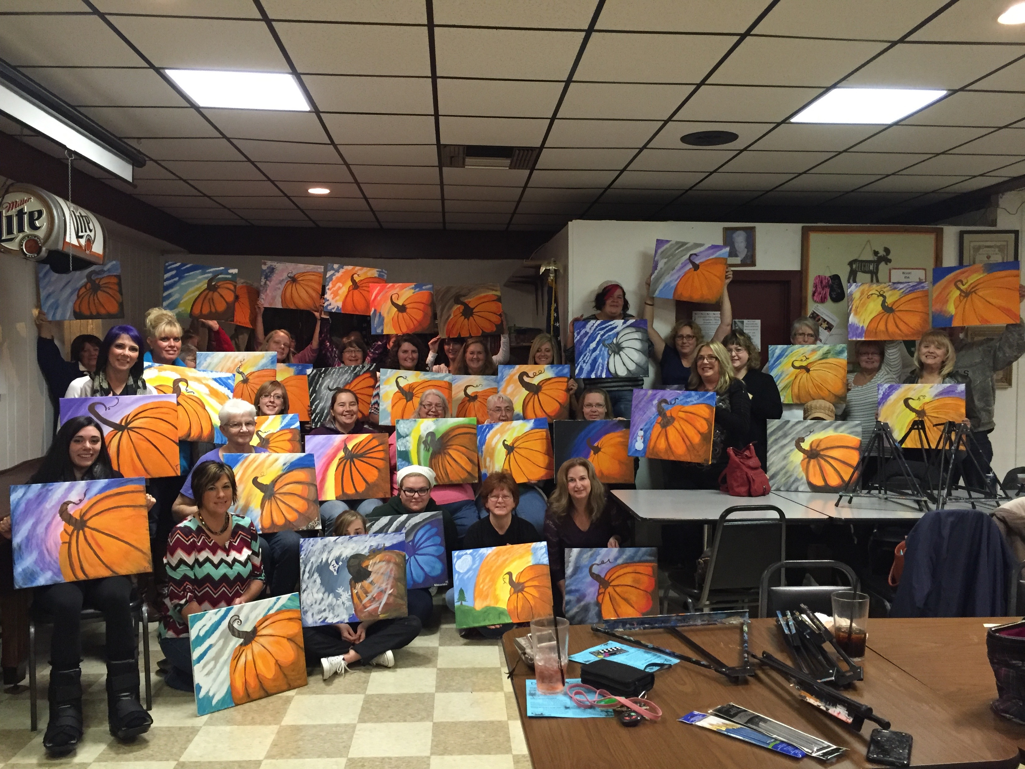 The ladies at the Beloit Moose Lodge painted Pumpkins for Fall! 11/14/15